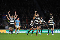 Damian de Allende of Barbarians (Stormers & South Africa) celebrates winning the Killik Cup match between the Barbarians and Argentina at Twickenham Stadium on Saturday 1st December 2018 (Photo by Rob Munro/Stewart Communications)