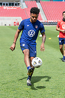 SANDY, UT - JUNE 8: Weston McKennie passes the ball during a training session at Rio Tinto Stadium on June 8, 2021 in Sandy, Utah.