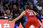 Dorian Finney Smith of Dallas Mavericks (L) in action against Mike Muscala of 76ers (R) during the NBA China Games 2018 match between Dallas Mavericks and Philadelphia 76ers at Universiade Center on October 08 2018 in Shenzhen, China. Photo by Marcio Rodrigo Machado / Power Sport Images