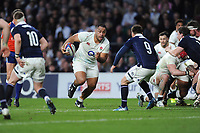 Billy Vunipola of England keeps a close eye on Ali Price of Scotland during the RBS 6 Nations match between England and Scotland at Twickenham Stadium on Saturday 11th March 2017 (Photo by Rob Munro/Stewart Communications)