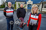 """Members of the Chain Gang cycling club launching their """"Spin into Spring"""" fundraiser for the Kerry Hospice, which will be going ahead on the weekend of the 13th and 14th of February. Front right: Avril Hewitt. Back l to Dave Elton and John Murray."""