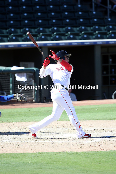 Yoan Moncada of the Surprise Saguaros plays in the Arizona Fall League season opener at Surprise Stadium on October 11, 2016 in Surprise Arizona. A member of the Boston Red Sox organization, Moncada is the consensus top minor league player for 2016 (Bill Mitchell)