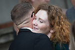 © Joel Goodman - 07973 332324 . 30/06/2017 . Stockport , UK . Coronation Street stars including ANTONY COTTON and JENNIE MCALPINE , hugging at the service . The funeral of Martyn Hett at Stockport Town Hall . Martyn Hett was 29 years old when he was one of 22 people killed on 22 May 2017 in a murderous terrorist bombing committed by Salman Abedi, after an Ariana Grande concert at the Manchester Arena . Photo credit : Joel Goodman