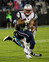The Carolina Panthers play the New England Patriots at Bank of America Stadium in Charlotte North Carolina on Monday Night Football.  The Panthers defeated the Patriots 24-20.  New England Patriots running back Shane Vereen (34), Carolina Panthers free safety Mike Mitchell (21)