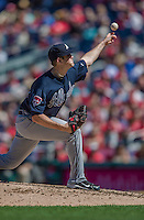 6 April 2014: Atlanta Braves starting pitcher Alex Wood on the mound against the Washington Nationals at Nationals Park in Washington, DC. The Nationals defeated the Braves 2-1 to salvage the last game of their 3-game series. Mandatory Credit: Ed Wolfstein Photo *** RAW (NEF) Image File Available ***