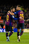 Lionel Andres Messi and Munir El Haddadi Mohamed of FC Barcelona react during the La Liga 2018-19 match between FC Barcelona and Real Betis at Camp Nou, on November 11 2018 in Barcelona, Spain. Photo by Vicens Gimenez / Power Sport Images