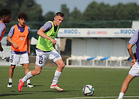 Nils De Wilde (15) of Anderlecht pictured during the warm up before a friendly soccer game between K Londerzeel SK and RSC Anderlecht Reserves during the preparations for the 2021-2022 season , on Wednesday 21st of July 2021 in Londerzeel , Belgium . PHOTO SEVIL OKTEM   SPORTPIX