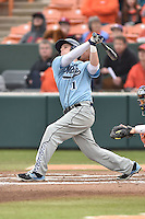 Main Black Bears left fielder Brett Chappell (1) swings at a pitch during a game against the Clemson Tigers at Doug Kingsmore Stadium on February 20, 2016 in Clemson, South Carolina. The Tigers defeated the Black Bears 9-4. (Tony Farlow/Four Seam Images)