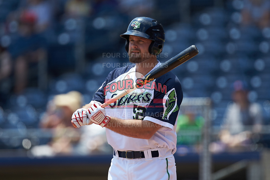 Lucas Duda (52) of the Gwinnett Stripers at bat against the Scranton/Wilkes-Barre RailRiders at Coolray Field on August 18, 2019 in Lawrenceville, Georgia. The RailRiders defeated the Stripers 9-3. (Brian Westerholt/Four Seam Images)