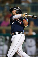 Connecticut Tigers third baseman Tyler Hanover #10 hits a home run during the NY-Penn League All-Star Game at Eastwood Field on August 14, 2012 in Niles, Ohio.  National League defeated the American League 8-1.  (Mike Janes/Four Seam Images)