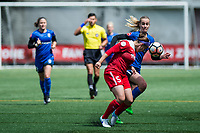 Seattle, WA - Saturday May 13, 2017: Beverly Yanez and Whitney Church during a regular season National Women's Soccer League (NWSL) match between the Seattle Reign FC and the Washington Spirit at Memorial Stadium.
