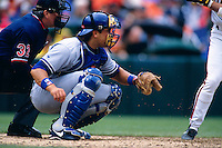 SAN FRANCISCO, CA - Mike Piazza of the Los Angeles Dodgers catches during a game against the San Francisco Giants at Candlestick Park in San Francisco, California on April 17, 1996.  Photo by Brad Mangin