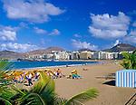 Spanien, Kanarische Inseln, Gran Canaria, Las Palmas: Playa de las Canteras, Strand   Spain, Canary Island, Gran Canaria, Las Palmas: Playa de las Canteras, beach