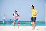 (L-R) Tadaomi Nakamura, Tetsuji Sugita (JPN),<br /> APRIL 20, 2014 - Beach Soccer :<br /> Beach Soccer Japan national team candidates training camp in Okinawa, Japan. (Photo by Wataru Kohayakawa/AFLO)