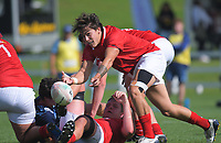 Joel Lam passes from a ruck during the 2021 Bunnings Super Rugby Aotearoa Under-20 rugby match between the Barbarians and Blues at Owen Delaney Park in Taupo, New Zealand on Tuesday, 14 April 2020. Photo: Dave Lintott / lintottphoto.co.nz