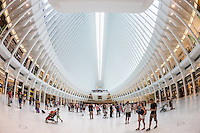 Shoppers and tourists enjoy the view inside the Oculus and new stores in the Westfield World Trade Center mall in New York City.