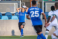 SAN JOSE, CA - MAY 15: Luciano Abecasis #2 of the San Jose Earthquakes throws the ball during a game between San Jose Earthquakes and Portland Timbers at PayPal Park on May 15, 2021 in San Jose, California.