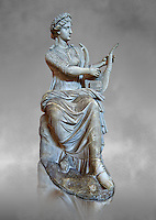 Roman stuate from the time of Hadrian of the muse Tersichore, inv 308, Vatican Museum Rome, Italy,  grey art background