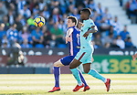 Javier Eraso Goni of CD Leganes (L) fights for the ball with Nelson Cabral Semedo of FC Barcelona (R) during the La Liga 2017-18 match between CD Leganes vs FC Barcelona at Estadio Municipal Butarque on November 18 2017 in Leganes, Spain. Photo by Diego Gonzalez / Power Sport Images