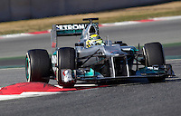Mercedes Racing's German Nico Rosberg drives his car during the F1 Test days in Montmelo racetrack, Barcelona, 22 February 2012. PHOTO Insidefoto / Alejandro Garcia / Anatomica Press