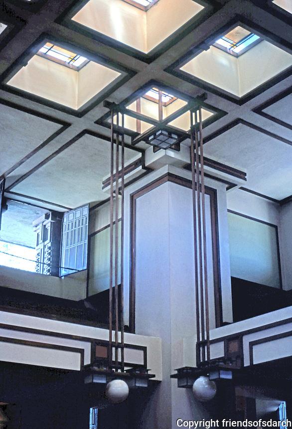 F.L. Wright: Unity Temple. Interior, upper balcony.  Photo '76.