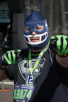 Seahawks fan with mask, Seahawks 12K Run 2016, The Landing, Renton, Washington, USA.