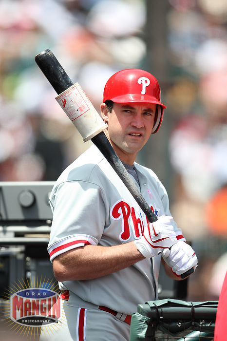 SAN FRANCISCO - MAY 11:  Pat Burrell of the Philadelphia Phillies gets ready to bat during the game against the San Francisco Giants at AT&T Park in San Francisco, California on May 11, 2008.  The Giants defeated the Phillies 4-3.  Photo by Brad Mangin