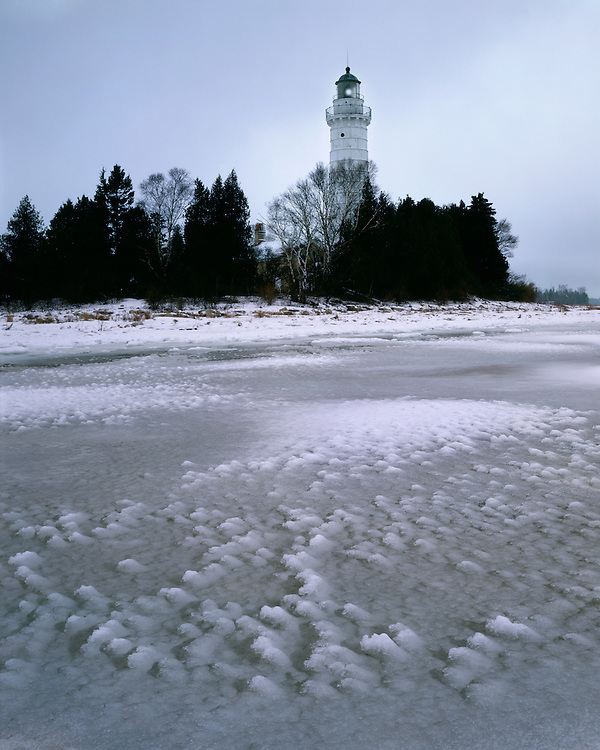 Foggy winter morning at the Cana Island Lighthouse on Lake Michigan; Door County, WI