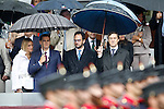 (L-R) Alber Rivera, President of Citizens Party, Ciudadanos, and girlfriend Beatriz Tajuelo, Antonio Hernando Vera Socialist Party spokesman in Congress and Rafael Antonio Hernando spokesman of the Popular Group in the Congress of Deputies during the National Day military parade. October 12 ,2016. (ALTERPHOTOS/Acero)