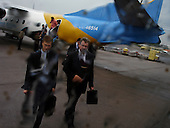 L'viv, Ukraine.June 2, 2005 ..Businessmen arriving at the airport...