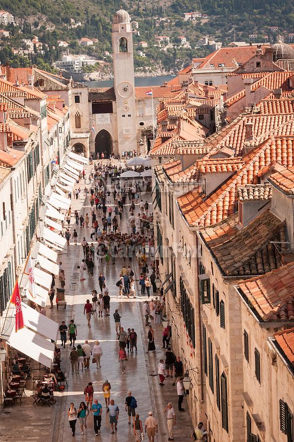 Walled city (stari grad) of Duvbrovnik, founded c. 972 along the Dalmatian Coast on the Adriatic Sea in Croatia--main plaza