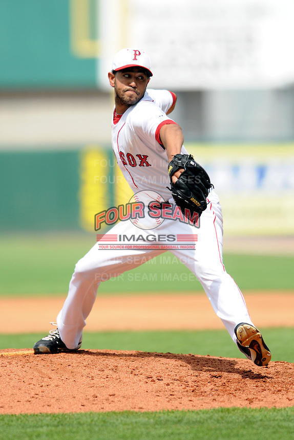 Pawtucket Red Sox pitcher Tony Pena Jr. # 31 during a game versus the Lehigh Valley Iron Pigs at McCoy Stadium in Pawtucket, Rhode Island on August 5, 2012.  (Ken Babbitt/Four Seam Images)