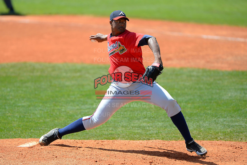 Atlanta Braves pitcher Mauricio Cabrera #65 during a minor league Spring Training game against the Baltimore Orioles at Al Lang Field on March 13, 2013 in St. Petersburg, Florida.  (Mike Janes/Four Seam Images)