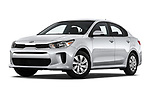 Stock pictures of low aggressive front three quarter view of a 2019 KIA Rio S 4 Door Sedan