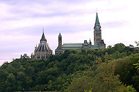 Peace Tower and Library in Ottawa with trees in the foreground