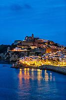 Ibiza Town and the cathedral of Santa Maria d'Eivissa at night, Balearic Islands,  Spain.