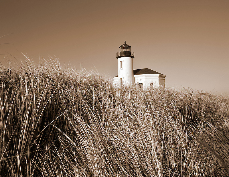 Coquille River Lighthouse and dune grass, Oregon