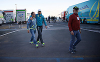 Daniele Bennati (ITA/Tinkoff) is assisted from the teambus after the race by someone of the team. Bennati was involved in the same crash that also involved Matthews & Démare. Later in hospital it was discovered that Bennati fractured a vertebra in that crash...<br /> <br /> 107th Milano-Sanremo 2016