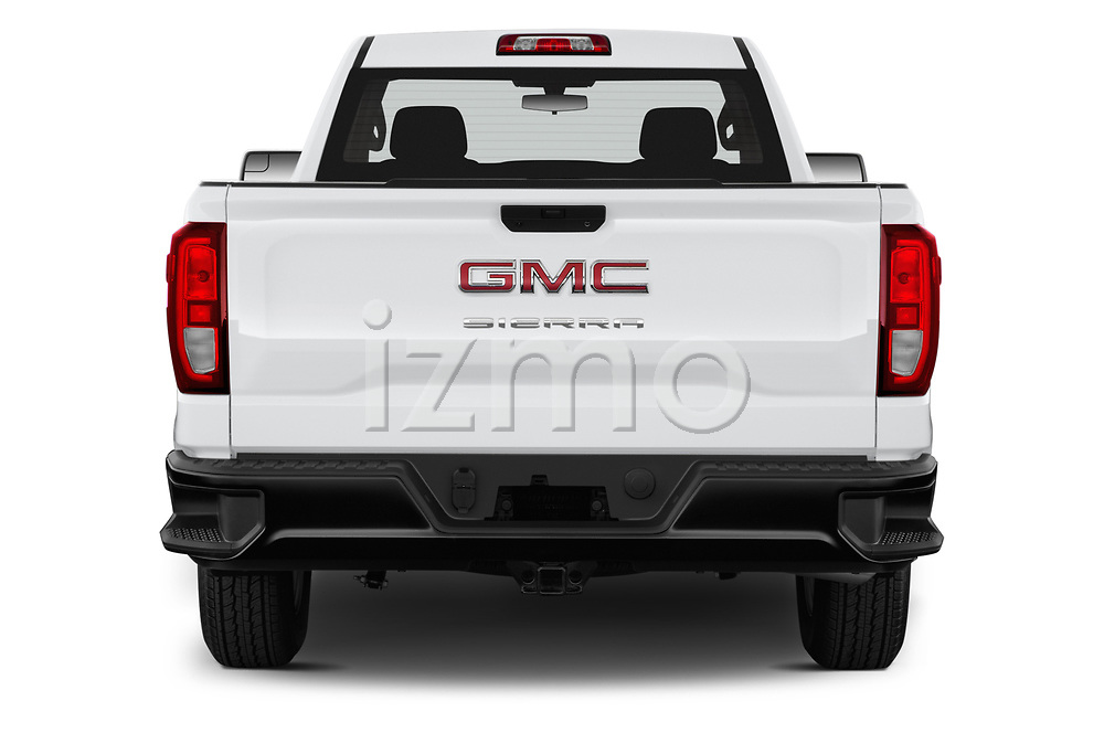 Straight rear view of a 2019 GMC Sierra 1500 Base 2 Door Pick Up stock images