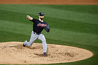 Cleveland Indians Corey Kluber (28) delivers a pitch in the third inning during Game 4 of the Major League Baseball World Series against the Chicago Cubs on October 29, 2016 at Wrigley Field in Chicago, Illinois.  (Mike Janes/Four Seam Images)