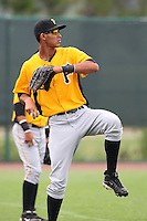 GCL Pirates outfielder Luis Urena #36 warms up before a game against the GCL Braves at Disney Wide World of Sports on June 25, 2011 in Kissimmee, Florida.  The Pirates defeated the Braves 5-4 in ten innings.  (Mike Janes/Four Seam Images)