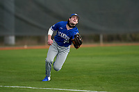 Indiana State Sycamores outfielder Keegan Watson (23) attempts to catch a shallow fly ball during the teams opening game of the season against the Pitt Panthers on February 19, 2021 at North Charlotte Regional Park in Port Charlotte, Florida.  (Mike Janes/Four Seam Images)