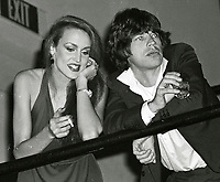 Jagger Hall6710.JPG<br /> New York, NY 1978 FILE PHOTO<br /> Mick Jagger Jerry Hall<br /> Studio 54<br /> Digital photo by Adam Scull-PHOTOlink.net<br /> ONE TIME REPRODUCTION RIGHTS ONLY<br /> NO WEBSITE USE WITHOUT AGREEMENT<br /> 718-487-4334-OFFICE  718-374-3733-FAX