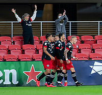 WASHINGTON, DC - APRIL 17: Erik Sorga #50 of D.C. United celebrates during a game between New York City FC and D.C. United at Audi Field on April 17, 2021 in Washington, DC.