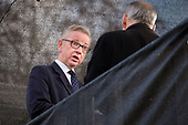 Michael Gove MP interviewed by TV news broadcaster on College Green, opposite the Houses of Parliament, London, on the day Conservative MPs launched a challenge to Theresa May's leadership of the party.