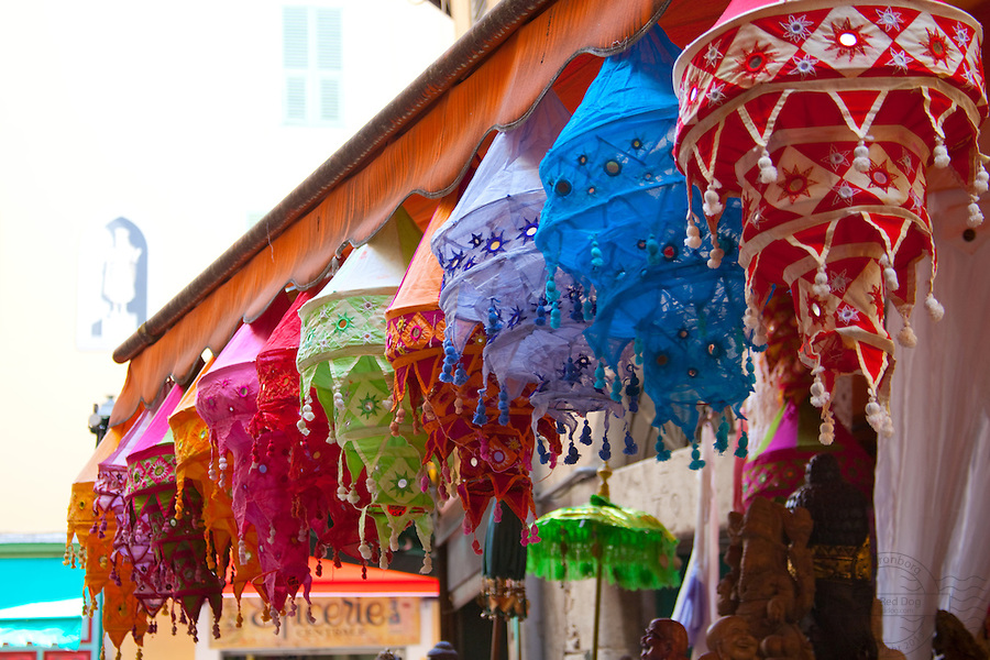 Colorfull lampshades in front of a store in the old part of Nice, France