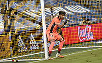 KANSAS CITY, KS - SEPTEMBER 13: Dayne St. Clair #97 of Minnesota United FC gives his wall instructions before a free kick during a game between Minnesota United FC and Sporting Kansas City at Children's Mercy Park on September 13, 2020 in Kansas City, Kansas.