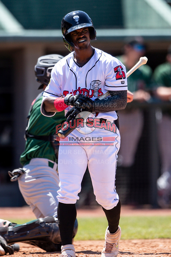 Lansing Lugnuts designated hitter Elvis Peralta (7) walks back to plate after striking out on May 30, 2021 against the Great Lakes Loons at Jackson Field in Lansing, Michigan. (Andrew Woolley/Four Seam Images)