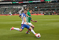 Mexico City, Mexico - Sunday June 11, 2017: Paul Arriola during a 2018 FIFA World Cup Qualifying Final Round match between the men's national teams of the United States (USA) and Mexico (MEX) at Azteca Stadium.