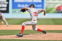 Greenville Drive pitcher Stephen Nogosek (35) delivers a pitch during a game against the Asheville Tourists at McCormick Field on April 16, 2017 in Asheville, North Carolina. The Drive defeated the Tourists 4-2. (Tony Farlow/Four Seam Images)
